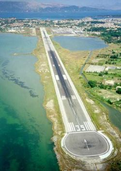 Mediterranean runway airport greece corfu