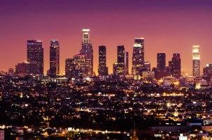 Los Angeles California City lights night sky
