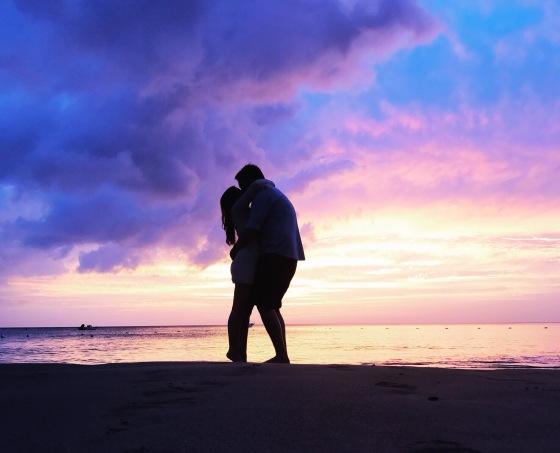 Caribbean St Lucia Beach Sunset couple kiss love