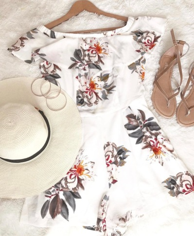 Playsuit shoes hat summer beach hot holiday travel vacation