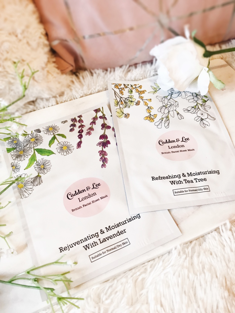 Natural Organic Facial Sheet Masks Cadden & Lee Rejuvinating Moisturising Refreshing Mask Skincare Tea Tree Lavender Skin